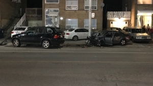 A vehicle involved in a collision on Davenport Road east of Christie Street early Friday morning is shown. (Mike Nguyen)