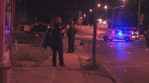Police are shown at the scene of a shooting investigation near Glencairn and Marlee avenues.