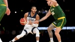 United States' Jayson Tatum drives to the basket past Australia's Mitch Creek during their exhibition basketball game in Melbourne, Thursday, Aug. 22, 2019. (AP Photo/Andy Brownbill)