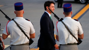 Canadian Prime Minister Justin Trudeau arrives at the airport in Biarritz, France Friday, Aug. 23, 2019. Trudeau is joining U.S. President Donald Trump, host French President Emmanuel Macron and the leaders of Britain, Germany, Japan and Italy for the annual G-7 summit in the elegant resort town of Biarritz. (AP Photo/Francois Mori)