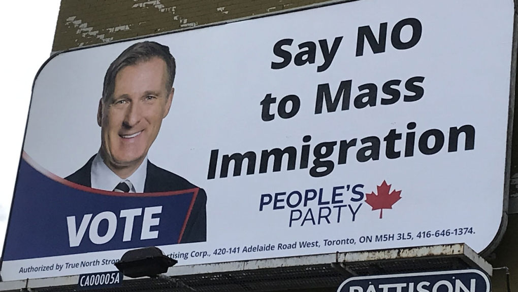 Company to remove pro-Maxime Bernier billboards that criticize 'mass immigration'