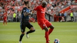 Toronto FC defender Justin Morrow (2) challenges Montreal Impact defender Zachary Brault-Guillard (15) during first half MLS Soccer action in Toronto, Saturday, Aug. 24, 2019. THE CANADIAN PRESS/Andrew Lahodynskyj