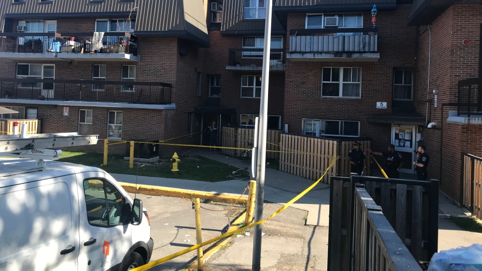 Two people were injured after a shooting near Finch and Leslie on Sunday. (Kelly Linehan/CP24)
