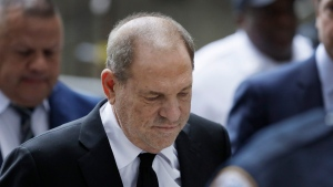 Harvey Weinstein arrives in court, Monday, Aug. 26, 2019, in New York. (AP Photo/Mark Lennihan)