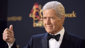 "Alex Trebek poses in the press room at the 46th annual Daytime Emmy Awards at the Pasadena Civic Center on May 5, 2019, in Pasadena, Calif. Canadian ""Jeopardy!"" host Alex Trebek says he's ""on the mend"" after completing treatment for pancreatic cancer. (THE CANADIAN PRESS/AP, Richard Shotwell/Invision)"