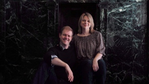 "Writers Irene Sankoff and David Hein pose in Toronto's Royal Alexandra Theatre as they promote the production ""Come From Away"" on November 11 , 2016. The Canadian couple behind the Broadway hit ""Come From Away"" is teaming up with Ellen DeGeneres on an upcoming TV project. THE CANADIAN PRESS/Chris Young"