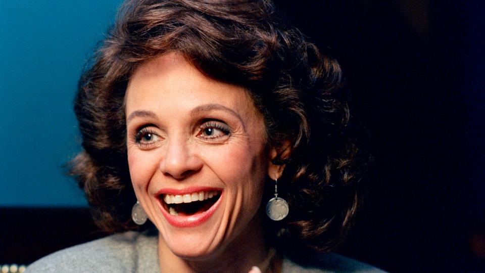 FILE - In this Jan. 1987 file photo, Actress Valerie Harper laughs during an interview in New York. Valerie Harper, who scored guffaws and stole hearts as Rhoda Morgenstern on back-to-back hit sitcoms in the 1970s, has died, Friday, Aug. 30, 2019. She was 80. (AP Photo/Ron Frehm, File)
