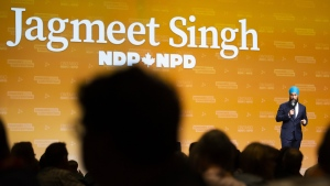 In this file image, NDP Leader Jagmeet Singh speaks to delegates and supporters at the Ontario NDP Convention in Hamilton, Ont., on June 16, 2019. (THE CANADIAN PRESS/Tara Walton)