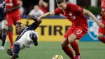 Toronto FC's Patrick Mullins (13) controls the ball against New England Revolution midfielder Luis Caicedo, left, in the first half of an MLS soccer match at Gillette Stadium, Saturday, Aug. 31, 2019, in Foxborough, Mass. (AP Photo/Elise Amendola)