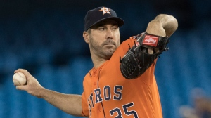 Houston Astros starting pitcher Justin Verlander throws against the Toronto Blue Jays during the first inning of their American League MLB baseball game in Toronto on Sunday, September 1, 2019. THE CANADIAN PRESS/Fred Thornhill