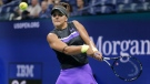 Bianca Andreescu, of Canada, prepares to hit a backhand to Elise Mertens, of Belgium, during the quarterfinals of the U.S. Open tennis tournament Wednesday, Sept. 4, 2019, in New York. (AP Photo/Seth Wenig)