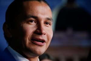 NDP leader Wab Kinew at a leaders' debate at CBC in Winnipeg, Wednesday, August 28, 2019. THE CANADIAN PRESS/John Woods