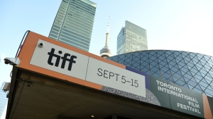 A view of signage appears on day one of the Toronto International Film Festival on Thursday, Sept. 5, 2019, in Toronto. (Photo by Chris Pizzello/Invision/AP)