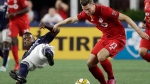 Toronto FC's Patrick Mullins (13) controls the ball against New England Revolution midfielder Luis Caicedo, left, in the first half of an MLS soccer match at Gillette Stadium, Saturday, Aug. 31, 2019, in Foxborough, Mass. Toronto FC visits expansion Cincinnati for the first time this weekend, looking to climb the Eastern Conference standings at the expense of MLS's worst team. THE CANADIAN PRESS/AP/Elise Amendola