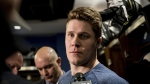 Toronto Maple Leafs defenceman Jake Gardiner speaks to reporters after a locker clean out at the Scotiabank Arena in Toronto, on Thursday, April 25, 2019. THE CANADIAN PRESS/Christopher Katsarov