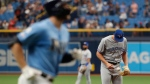 Toronto Blue Jays pitcher Jacob Waguespack stands on the mound after giving up a home run to the Tampa Bay Rays during the first inning of a baseball game on Sunday Sept. 8, 2019, in St. Petersburg, Fla. (AP Photo/Scott Audette)