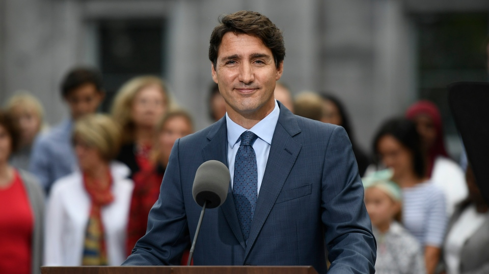 Liberal Leader Justin Trudeau talks to media at Rideau Hall in Ottawa, Wednesday, Sept.11, 2019. Trudeau has emerged from Rideau Hall after visiting the Governor General and asking her to dissolve Parliament to begin the formal federal election campaign. THE CANADIAN PRESS/Justin Tang
