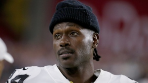 Antonio Brown watches from the sidelines during an NFL preseason football game, on Aug. 15, 2019. (Rick Scuteri / AP)