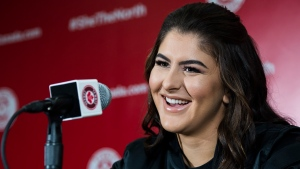 Bianca Andreescu speaks to the media after she became the first Canadian player to win a Grand Slam singles title when she defeated Serena Williams in the final of the US Open, in Toronto on Wednesday, September 11, 2019. THE CANADIAN PRESS/Nathan Denette