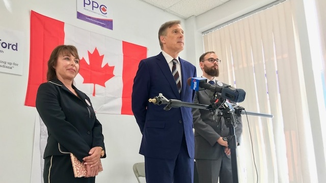 People's Party of Canada Leader Maxime Bernier speaks alongside candidate Renata Ford at a campaign event in Etobicoke Wednesday September 11, 2019. (Cristina Tenaglia /CP24)