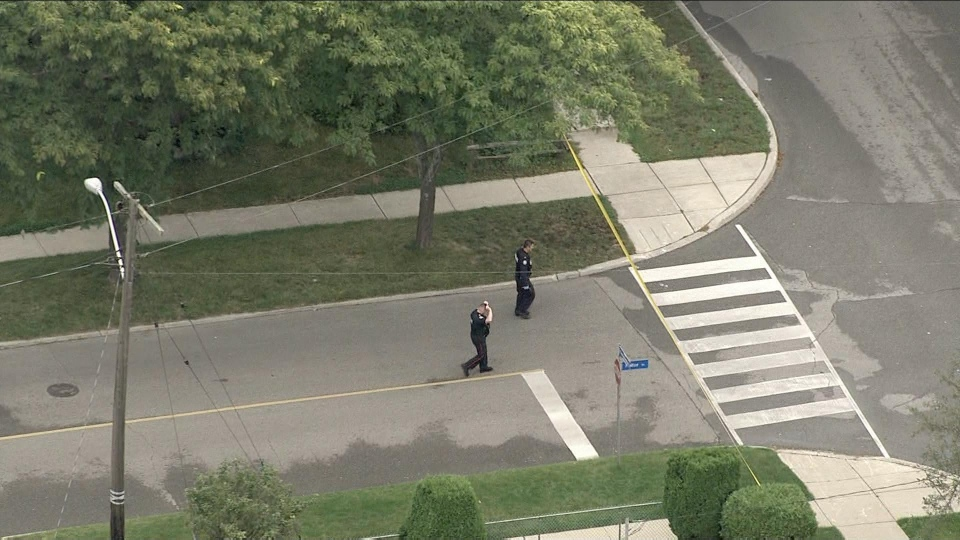 Officers are seen near Scarborough Golf Club Road after a male was shot in the hand on Sept. 12, 2019. (Chopper 24)