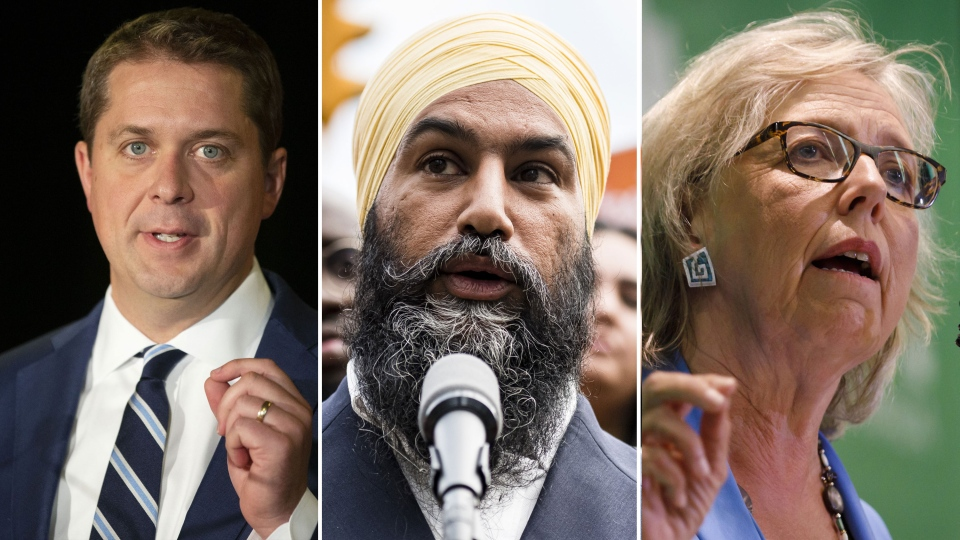 From left, Conservative Leader Andrew Scheer, NDP Leader Jagmeet Singh and Green Leader Elizabeth May are in a composite image.