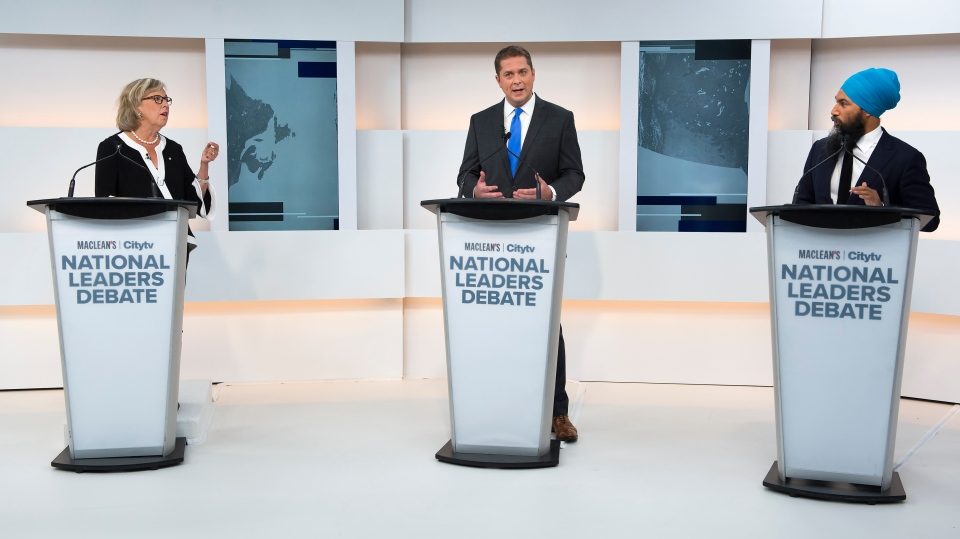 Green Party Leader Elizabeth May, left, Conservative Leader Andrew Scheer, centre, and NDP Leader Jagmeet Singh take part during the Maclean's/Citytv National Leaders Debate in Toronto on Thursday, Sept. 12, 2019. THE CANADIAN PRESS/Frank Gunn
