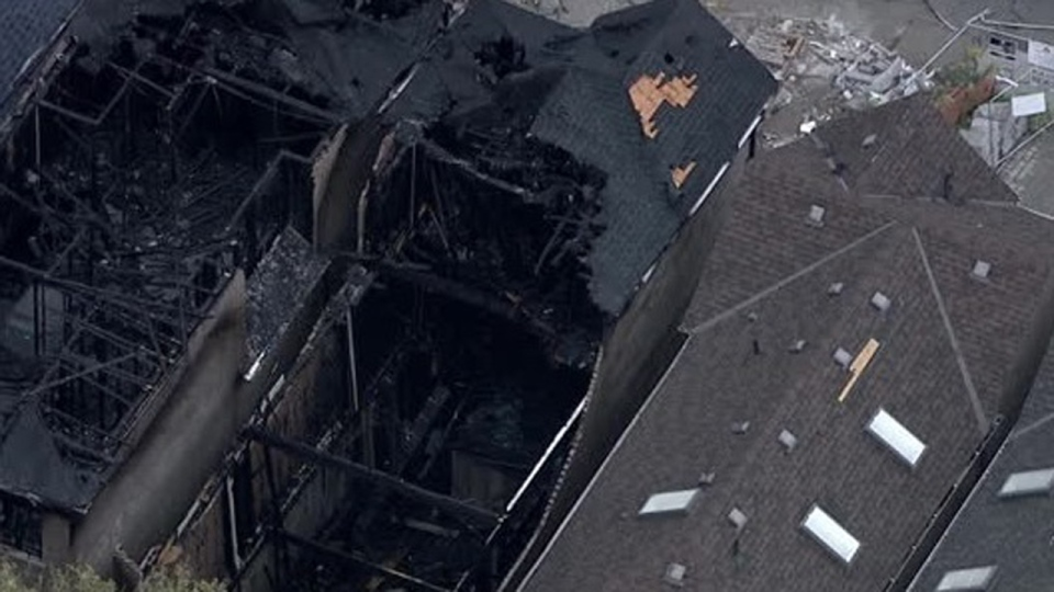 Two destroyed homes are seen on Westbourne Avenue after a suspicious fire on Sept. 13, 2019. (Chopper 24)