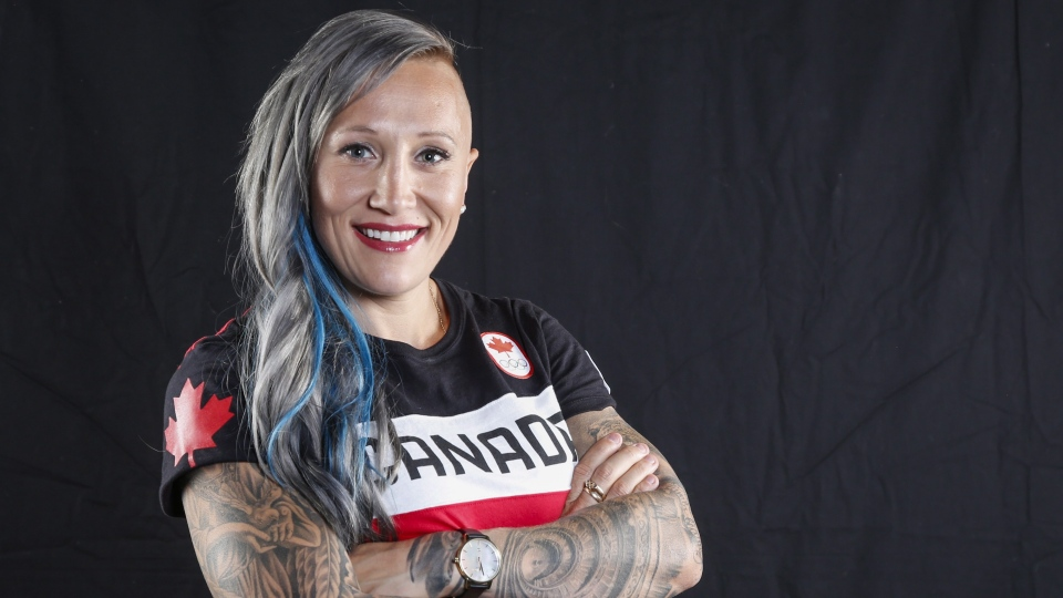 Canadian Olympic athlete Kaillie Humphries poses for a photo at the Olympic Summit in Calgary, Alta., Saturday, June 3, 2017. Two-time Olympic bobsled champion Humphries wants to compete for the United States and has filed a lawsuit against Bobsleigh Canada Skeleton to obtain her release, according to a CBC report.THE CANADIAN PRESS/Jeff McIntosh