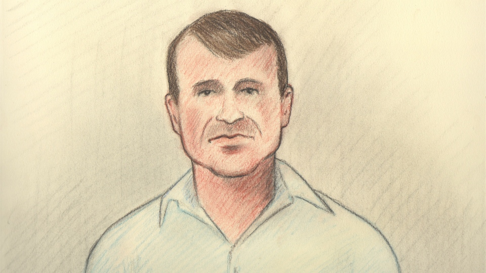 Cameron Ortis can be seen in this artist rendering from his court appearance on Friday, Sept. 13, 2019.