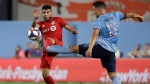 New York City FC's Tony Rocha (15) fights for control of the ball with Toronto FC's Alejandro Pozuelo during the first half of an MLS soccer match Wednesday, Sept. 11, 2019, in New York. (AP Photo/Frank Franklin II)