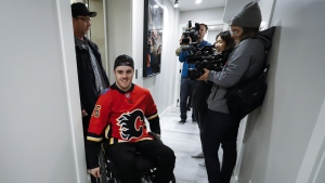 After more than a year since Humboldt Broncos player Ryan Straschnitzki was injured he is finally retuning home to Airdrie, Alta., on April 27, 2019. For the first time in 526 days, former Broncos hockey player Ryan Straschnitzki will be back in Humboldt, Sask. The 20-year-old from Airdrie, Alta., was paralyzed from the chest down when a bus carrying Humboldt's junior hockey team collided with a semi truck on the way to a playoff game on April 6, 2018. Sixteen people died and 13 others, including Straschnitzki, were injured. THE CANADIAN PRESS/Jeff McIntosh