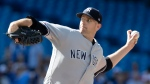 New York Yankees starting pitcher James Paxton throw against the Toronto Blue Jays during the first inning of their American League MLB baseball game in Toronto Saturday September 14, 2019. THE CANADIAN PRESS/Fred Thornhill