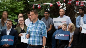 Conservative leader Andrew Scheer listens to questions during a campaign event in Ottawa on Saturday, Sept. 14, 2019. Scheer decided against taking a break from campaigning on the first weekend of the election campaign. THE CANADIAN PRESS/Justin Tang