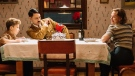 "Jojo (Roman Griffin Davis) has dinner with his imaginary friend Adolf (writer/director Taika Waititi), and his mother, Rosie (Scarlet Johansson) in a handout photo from the film ""Jojo Rabbit."" The film has won the People's Choice Award at the Toronto International Film Festival. THE CANADIAN PRESS/HO-TIFF- Kimberley French MANDATORY CREDIT"