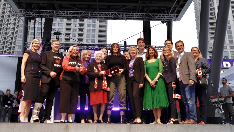 Bianca Andreescu is presented with a Key to the City at the She The North rally in Mississauga on Sunday, September 15. (Supplied)