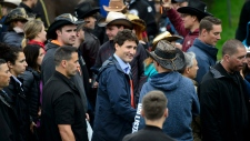 Liberal Leader Justin Trudeau makes a campaign stop at the 'Festival Western St-Tite' in St-Tite, Que., on Saturday, Sept. 14, 2019. THE CANADIAN PRESS/Sean Kilpatrick
