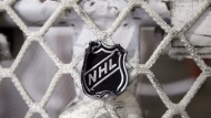 In this file photo taken Sept. 17, 2012, the NHL logo is seen on a goal at a Nashville Predators practice rink in Nashville, Tenn. The National Hockey League Players' Association will not reopen the collective bargaining agreement with the NHL after the 2019-20 season. THE CANADIAN PRESS/AP/Mark Humphrey