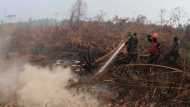 Soldiers and a fire fighter spray water to extinguish forest fire at a peatland field in Kampar, Riau province, Indonesia, Tuesday, Sept. 17, 2019. Indonesian authorities have deployed more personnel and aircraft to battle forest fires that are spreading a thick, noxious haze around Southeast Asia. (AP Photo/Rafka Majjid)