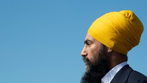 NDP leader Jagmeet Singh is seen during a campaign stop in Longueuil, Que. Monday September 16, 2019. THE CANADIAN PRESS/Adrian Wyld