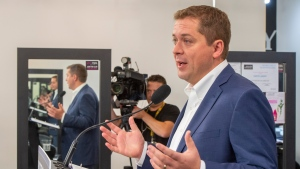Federal Conservative leader Andrew Scheer speaks at a campaign event in Winnipeg on Tuesday September 17, 2019. Scheer says he would help parents save up to send their children to college or university by increasing the amount of money the federal government contributes to the pot. THE CANADIAN PRESS/Frank Gunn