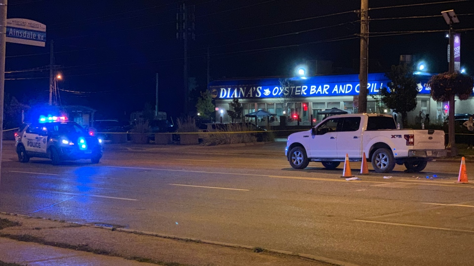 Police respond to the scene where a pedestrian was struck at Lawrence Avenue East and Crockford Boulevard Tuesday September 17, 2019. (Troy Gallant)