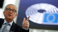 European Commission President Jean-Claude Juncker delivers his speech Wednesday, Sept. 18, 2019 in Strasbourg, eastern France, as members of the European Parliament discuss the current state of play of the UK's withdrawal from the EU. (AP Photo/Jean-Francois Badias)