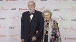 Margaret Atwood and Graeme Gibson stop on the red carpet at the Scotiabank Giller Bank Prize gala in Toronto on Monday, November 19, 2018. THE CANADIAN PRESS/Chris Young