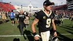 New Orleans Saints quarterback Drew Brees leaves the field after their loss against the Los Angeles Rams during an NFL football game Sunday, Sept. 15, 2019, in Los Angeles. (AP Photo/Marcio Jose Sanchez, File)