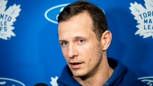 Toronto Maple Leafs Jason Spezza speaks to media, in Toronto, on Thursday, September 12, 2019. Spezza remembers what it was like being a young star in the NHL - the demands, the pressure, the expectations. THE CANADIAN PRESS/Christopher Katsarov