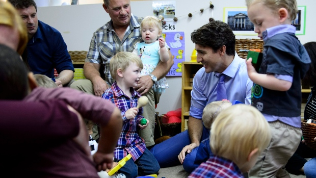 Justin Trudeau with kids