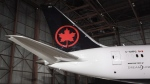 The tail of the newly revealed Air Canada Boeing 787-8 Dreamliner aircraft is seen at a hangar at the Toronto Pearson International Airport in Mississauga, Ont., Thursday, February 9, 2017. A new report finds that Air Canada lags behind other global airlines in revenue from passenger fees, but is poised to catch up after its recent purchase of the Aeroplan rewards program. THE CANADIAN PRESS/Mark Blinch
