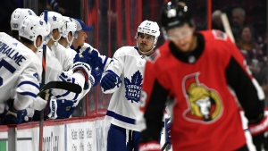 Toronto Maple Leafs centre Auston Matthews (34) celebrates a goal against the Ottawa Senators with teammates as during second period of preseason NHL hockey action in Ottawa, Wednesday September 18, 2019. THE CANADIAN PRESS/Justin Tang