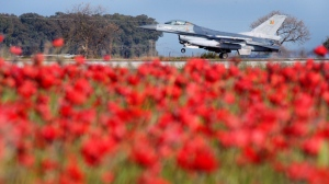 A Belgian F-16 fighter jet lands after a mission in Libya at Araxos airport in Kato Ahaia, Greece on Monday, March 28, 2011. A fighter similar to this one crashed in Brittany, France on Sept. 19, 2019. (AP Photo/Geert Vanden Wijngaert)